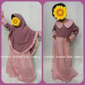Gamis Anak Salma Dress Dusty Pink Motif Polka Soft Pink