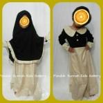 Gamis Anak Salma Dress Hitam Motif Bunga kecil Kuning Soft