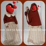 Gamis Anak Salma Dress Merah Bata Motif Bunga Bergaris