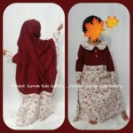 Gamis Anak Salma Dress Merah Tua Motif Bunga