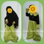 Gamis Anak Salma Dress Hitam Motif Polka Kecil Hijau Muda