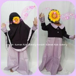 Gamis Anak Salma Dress Ungu Tua Motif Polka Kecil