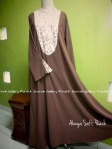 Gamis Cadar Abaya Payung Oval Soft Peach