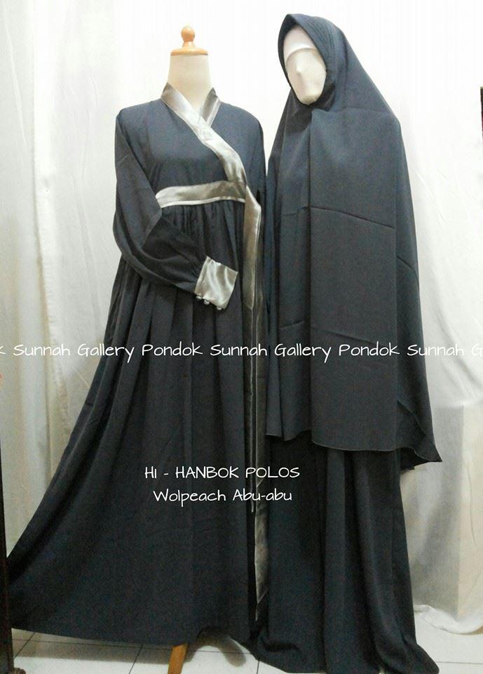 Gamis Cadar Hanbok Polos Wolpeach Abu Abu