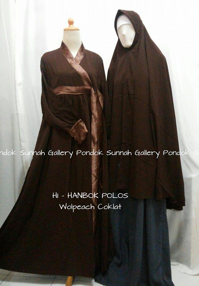 Gamis Cadar Hanbok Polos Wolpeach Coklat