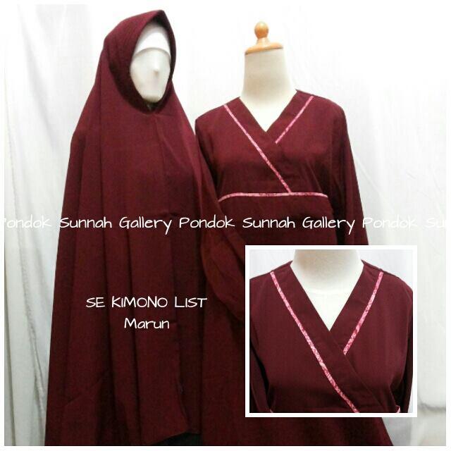 Gamis Cadar Se Kimono List Merah Marun