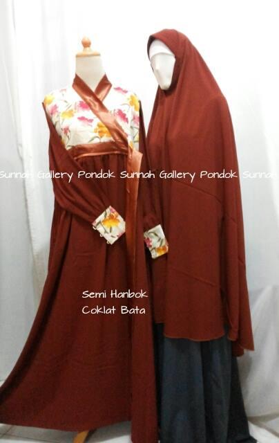 Hijab Cadar Semi Hanbok Coklat Bata1