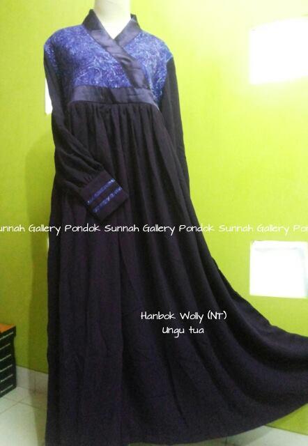 baju muslim dewasa Hanbok Wolly (NT) tua ungu