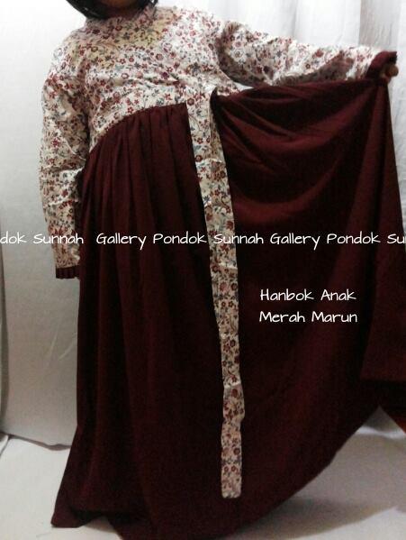 gamis cadar Hanbok Anak MERAH MARUN motif bunga