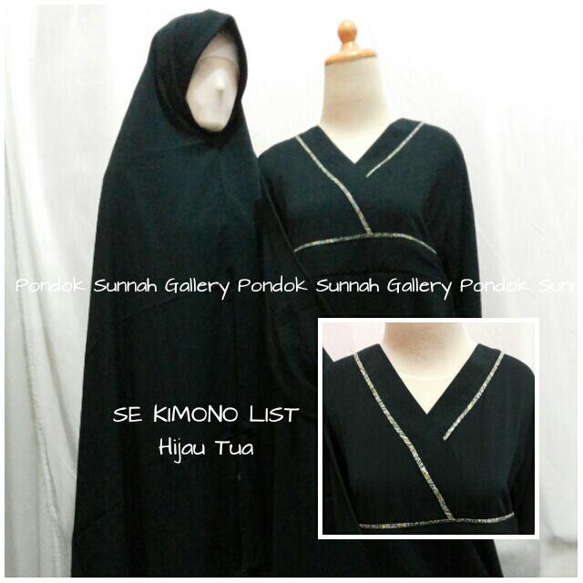 gamis cadar se kimono list hijau tua