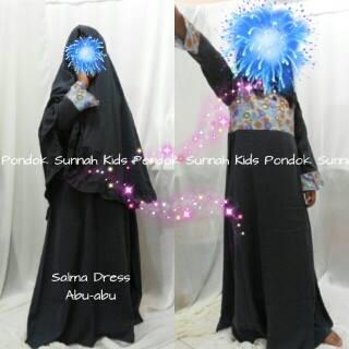 gamis anak perempuan salma dress abu-abu