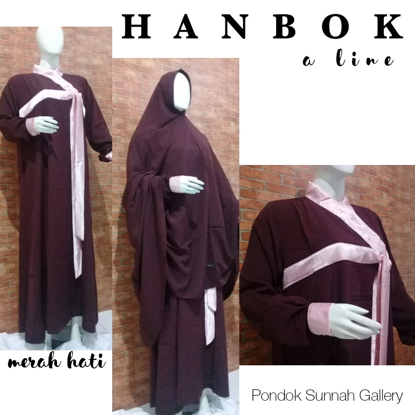 Gamis Syari Dewasa A-Line Hanbok Marun
