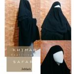 Hijab Syari Khimar Safar resleting jetblack